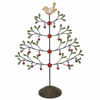 dotcomgiftshop JINGLE BELLS TABLETOP METAL CHRISTMAS TREE WITH ROBIN AND BUTTONS