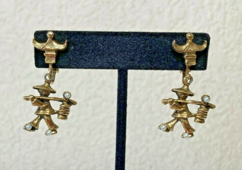 Vintage Asian Water Carrier Coolie Figural Earring