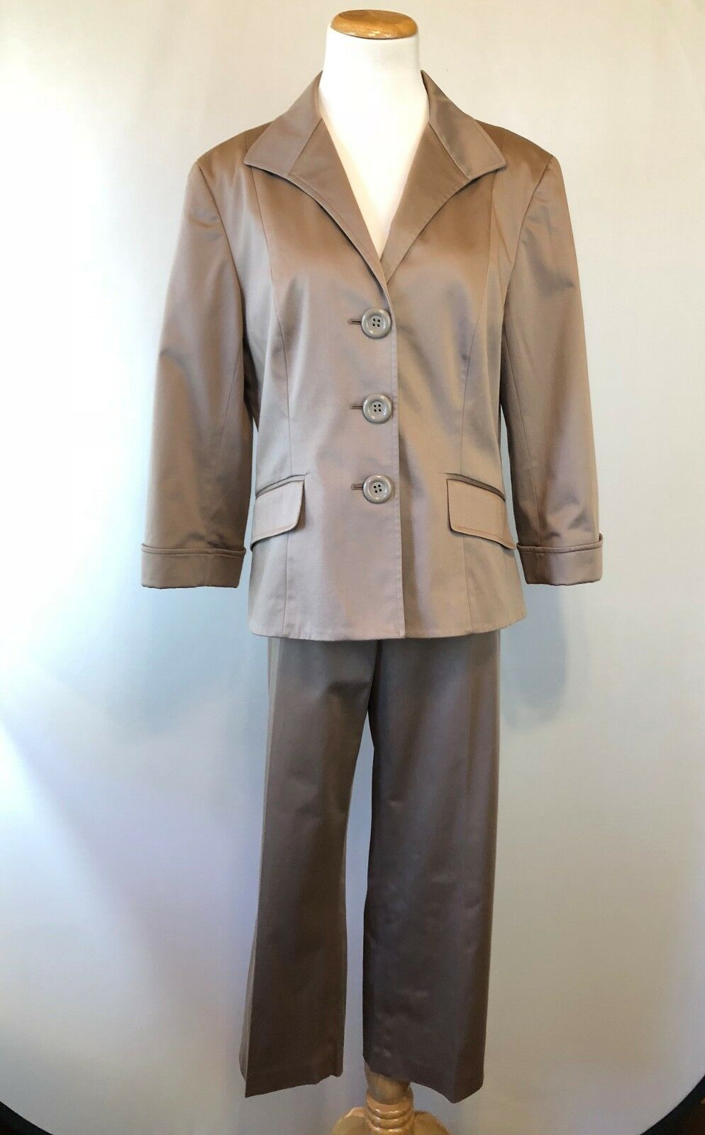 Lafayette 148 Tan Khaki Cotton Blend Blazer Cropped Pants Suit Set Size 12