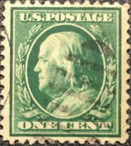 Vintage-Scott-374-US-1910-1-Cent-Franklin-Postage-Stamp-Perf-12