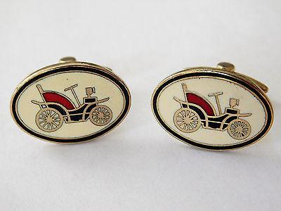 Vintage gilt cufflinks Enamel classic car motoring driver 1970s 1980s j