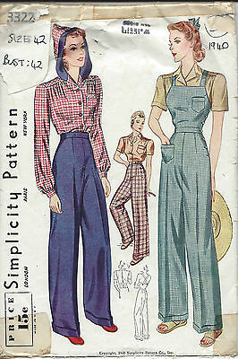 1940 Vintage Sewing Pattern B42-W36 BLOUSE-TROUSERS-OVERALLS (1229)