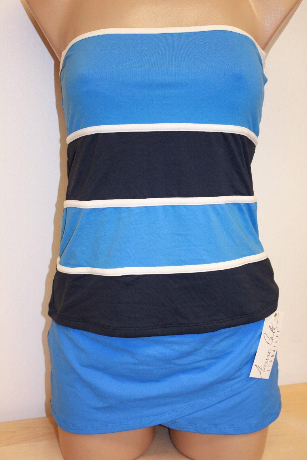 NWT Anne Cole Swimsuit Bikini Tankini 2 pc set Sz S Skirt Strapless Indi