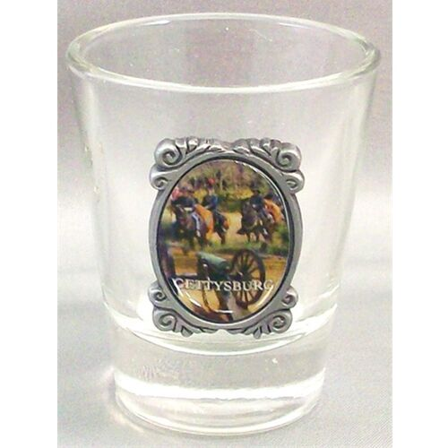 SHOT GLASS CIVIL WAR GETTYSBURG PA.OVAL PHOTO MADE OF GLASS NEW 80880