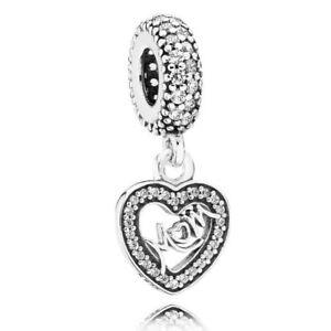 2d77debe409 Authentic PANDORA Charm Sparkling Heart Mum Dangle 791521cz W Suede Pouch