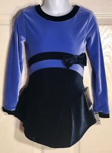 GK-VINCA-VELVET-ICE-FIGURE-SKATE-CHILD-SMALL-LgSLV-MIDRIFF-BOW-DRESS-Sz-CS-NWT