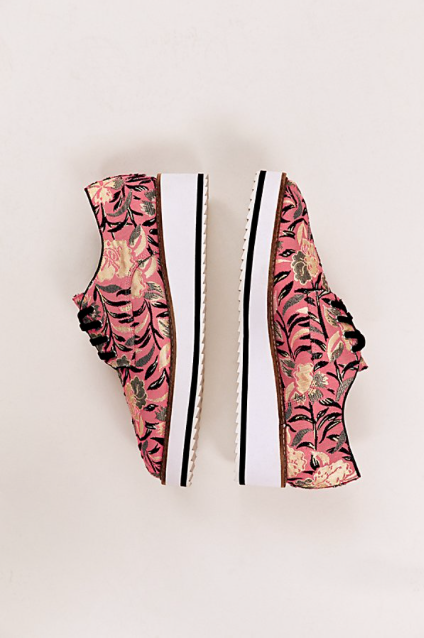 NEW Free People Pink gold Floral Shellys London Lace Up Platform Loafers Sneaker