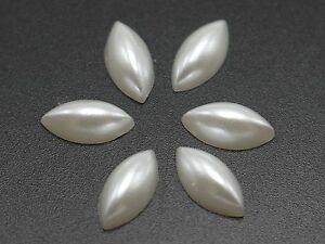 500 Pure White Tear Drop Half Pearl Bead 6X8mm Flat Back Gem Scrapbook Craft