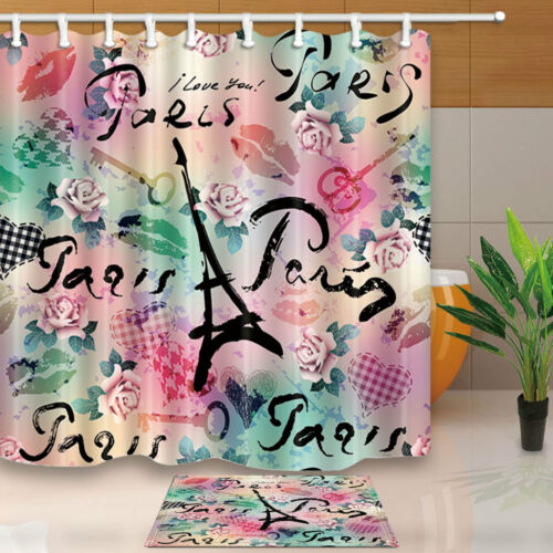 Watercolor Eiffel Tower and Flower Shower Curtain set Red Lips Home decor 71inch