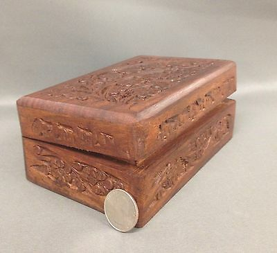 Wooden Tarot Card Altar Box w/ Carved Flowers - Wicca Pagan Wiccan