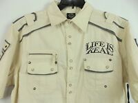 Blac Label Pearl Snap Gray & Cream Shirt 'life Is Real' Xl Bnwt. A06
