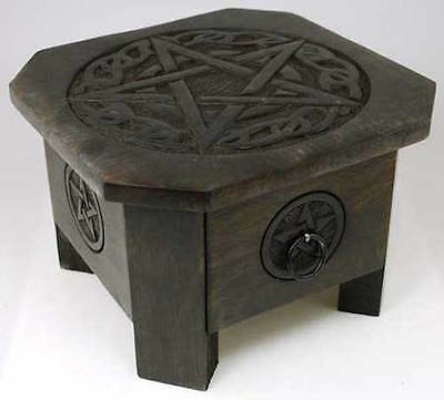 "7"" Celtic Pentagram Altar Table with Drawer! pagan wicca witch"