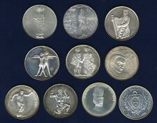 SWITZERLAND 1950-1967  SHOOTING MEDALS, MISC. SILVER MEDALS LOT OF (10)