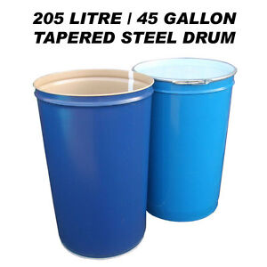 205-LITRE-45-GAL-TAPERED-STEEL-DRUM-BARREL-CONTAINER-FOR-SHIPPING-WASTE-FEED-BIN
