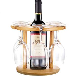 Tabletop Wine Bottle Rack Bamboo Wine Glass Holder For 6 Pcs