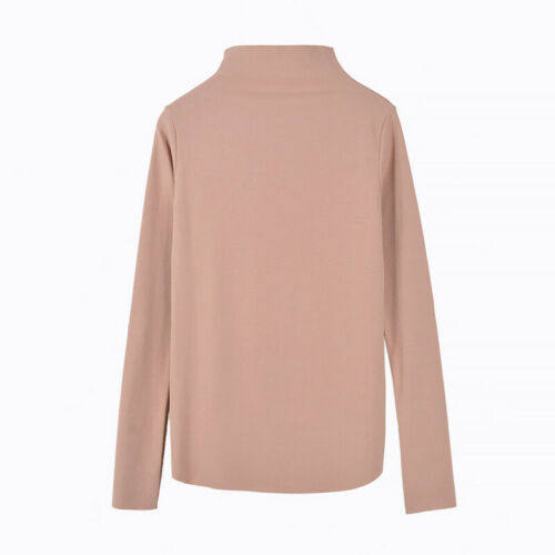Women Solid Color Long Sleeve Bottoming Shirt High Neck Slim T-shirt Top Blouse