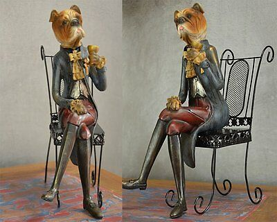 decorative figure sculpture royal dog on chair statue home decor vintage chic902