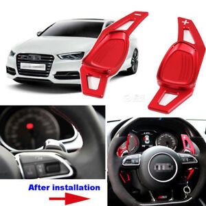 For-Audi-S3-15-2016-Steering-Wheel-DSG-Paddle-Shifters-Extension-Red-Color-2pcs