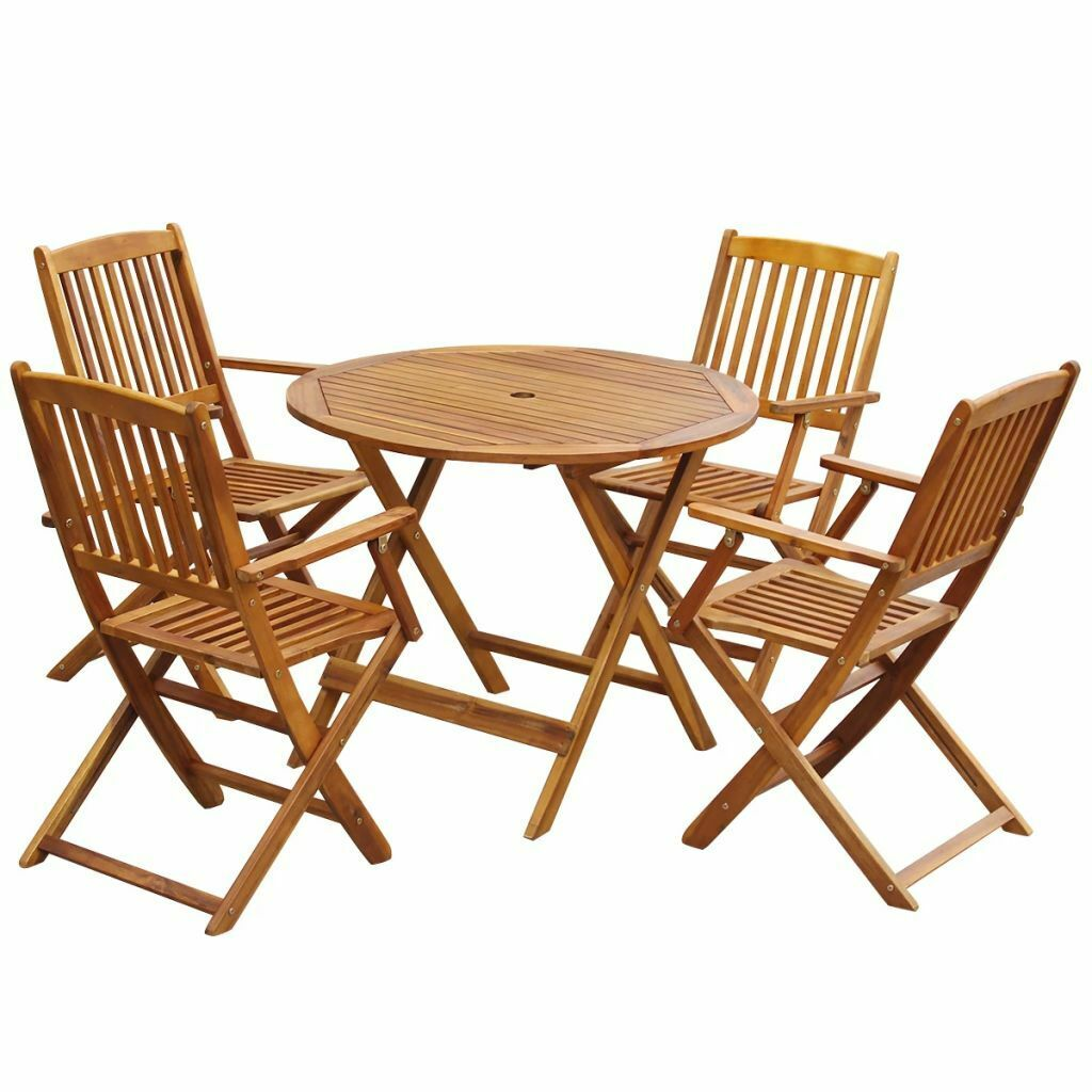 - Outdoor Dining Set 5 Pieces Acacia Wood Folding Round For Sale