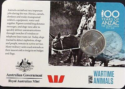 2015 Anzac centenary wartime animals  20 cents UNC