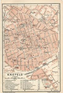 Antique Map Krefeld Germany 1925 Crefeld Karte Plan Plattegrond Ebay