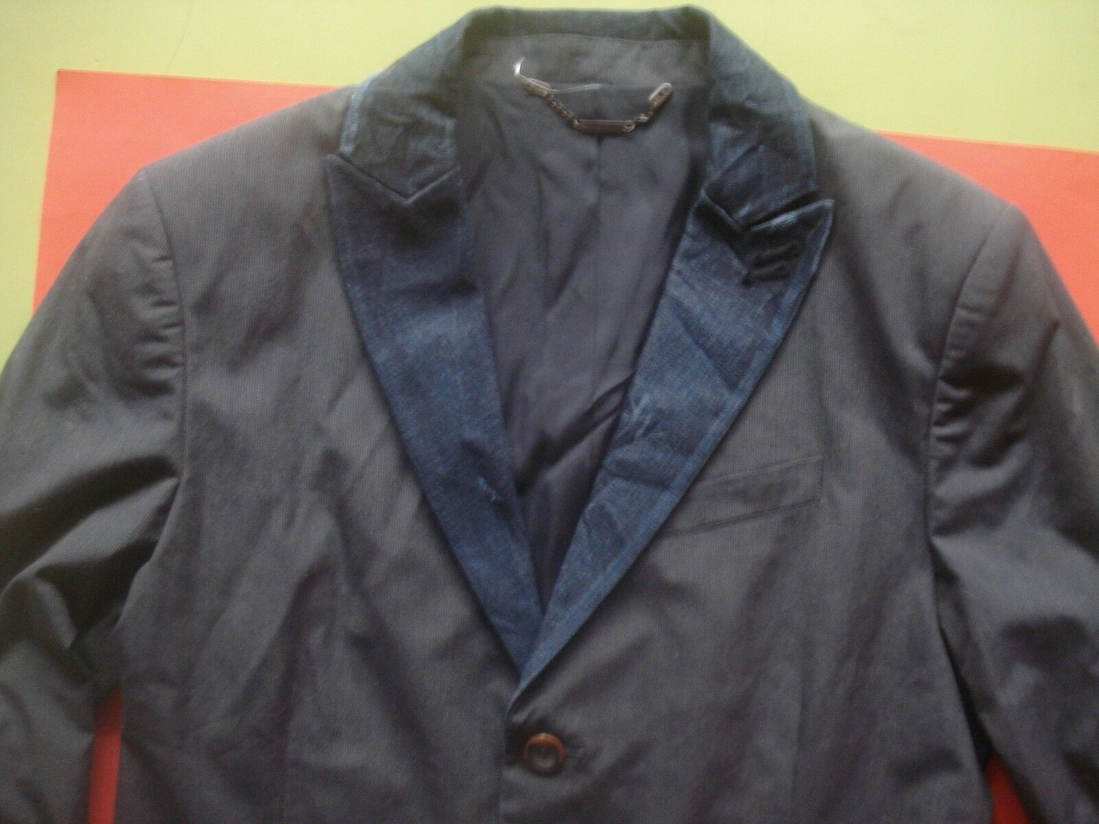 DIESEL DESIGNER BLAZER DISTRESSED JEAN COLLAR TORTOISE BUTTONS SMALL NEW