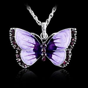 Women-Fashion-Jewelry-Enamel-Butterfly-Crystal-Silver-Pendant-Necklace-Chain