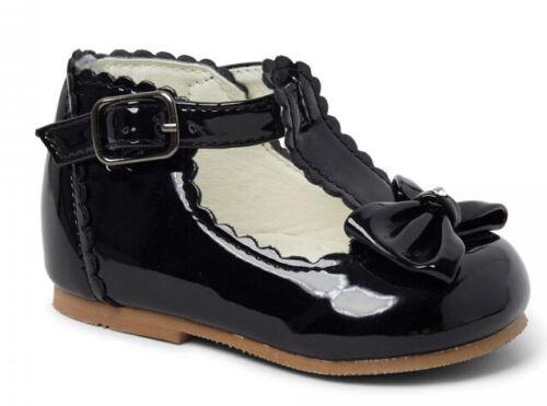 Sevva Girls Spanish Diamante Bow Patent T-Bar Walking Shoes UK Infant 2-6