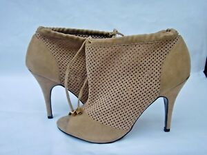 WORN-ONCE-NEXT-RUNWAY-COLLECTION-SIZE-6-5-TAN-SUEDE-PEEP-TOE-ANKLE-SHOE-BOOT