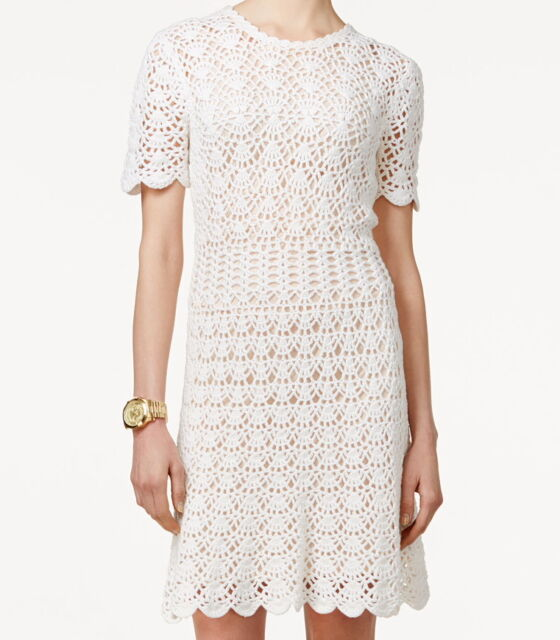 Attractive NWT $250 MICHAEL Michael Kors Short Sleeve Crochet Sweater Dress White