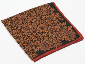New-Custom-Black-Orange-Floral-Hand-Rolled-Custom-Silk-amp-Wool-Pocket-Square