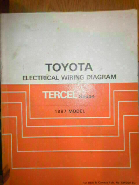 1987 Toyota Tercel Sedan Electrical Wiring Diagram Service Manual  Rx500