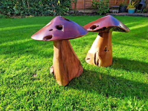 Wood Mushroom Garden Decoration Teak Carving Ornament Wooden Toadstool Sculpture