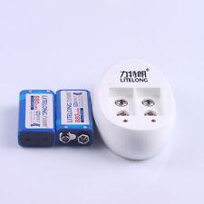 2PCS LITELONG 9V 880mAh Rechargeable Li-ion Batteries + Charger