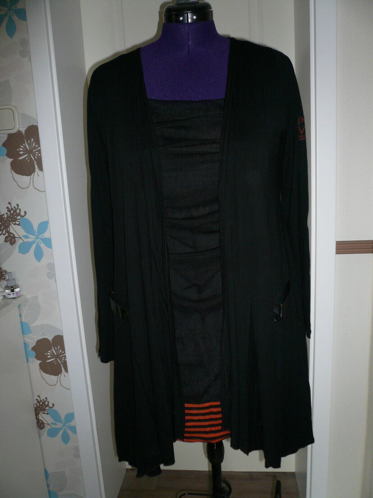 Zweiteiler Long-Shirt mit Jacke Gr. M schwarz mit rostbraun/orange Buchstaben