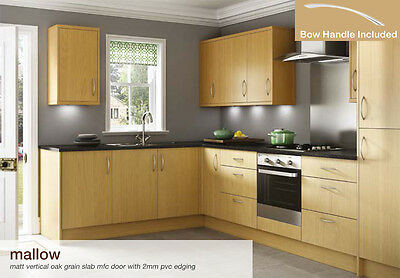 Mallow Vertical Oak Grain Flat Packed Kitchen Base and Wall Units Cabinets