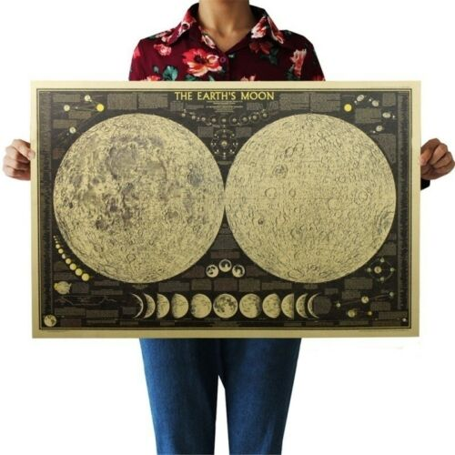 Vintage Fashion Paper Wall Chart Decal Earth's Moon World Map Poster Decor
