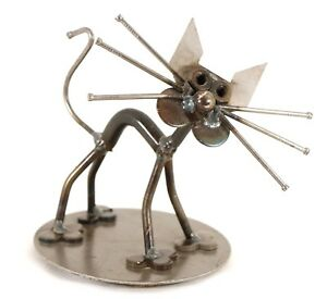 Handmade-Sculpture-Metal-Cat-Figure-Nails-Art-Feline-Unique