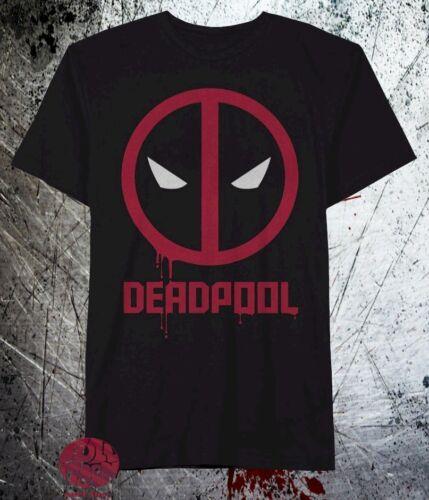New Marvel Deadpool Mens Black  Paint Run T-Shirt