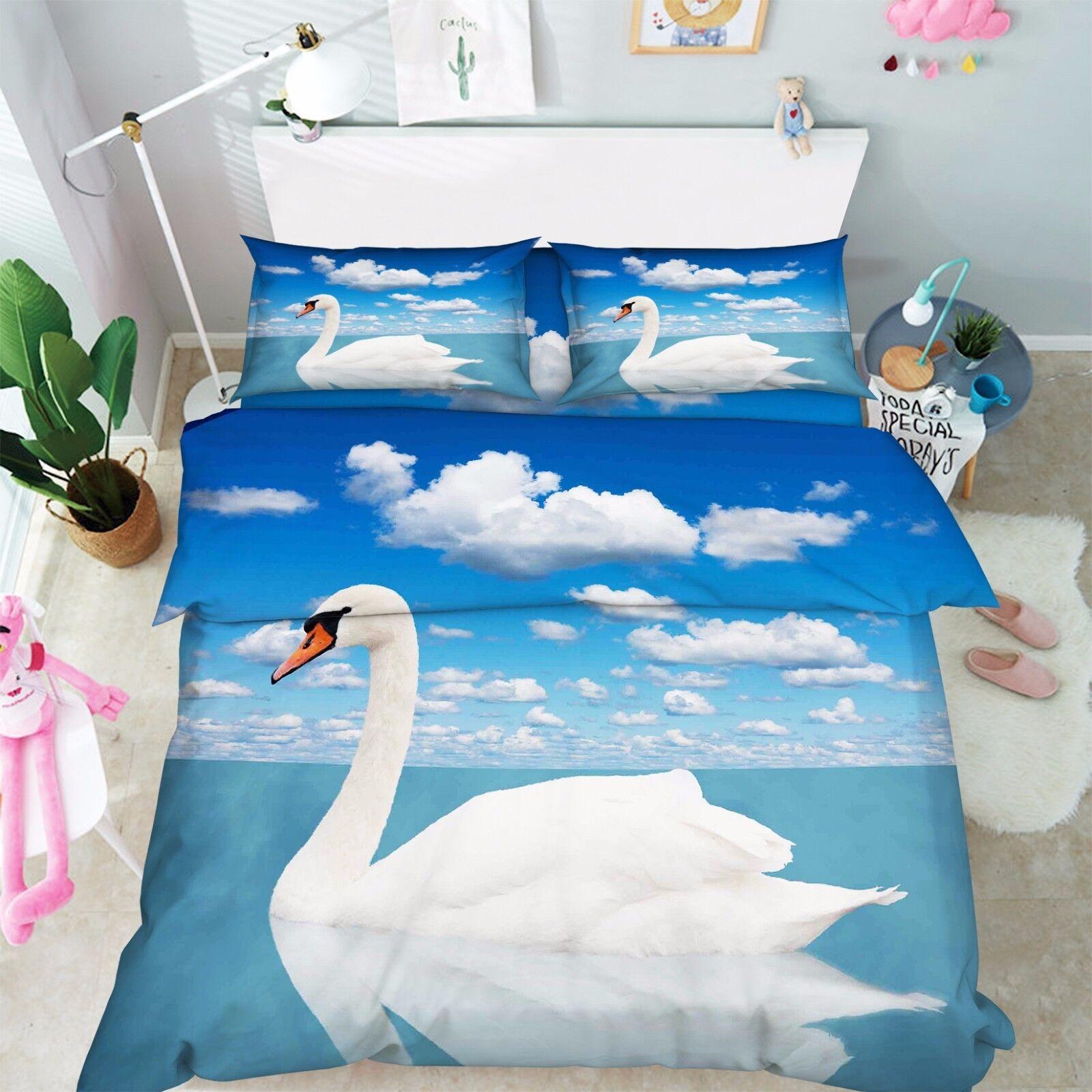 3D Weißer Schwan 59 Bett Kissenbezüge steppen Duvet Decken Set Single DE Carly