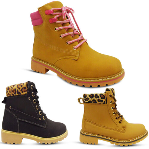 NEW WOMENS LADIES LACE UP LOW BLOCK HEEL COMBAT BIKER HIKING WORK ANKLE BOOTS