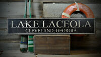 Custom Lake House City State Sign -Rustic Hand Made Distressed Wooden ENS1000783