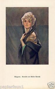 Allegretto Kunstdruck von 1925 Walter Bertuch Dame Sängerin Schleier Oper Diva