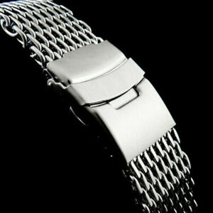 18/20/22/24mm Steel Dive Shark Mesh Milanese Watch Strap Band U8S8