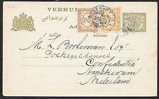 Netherlands Indies covers 1915 uprated VERHUISKAART Weltevreden-Amsterdam