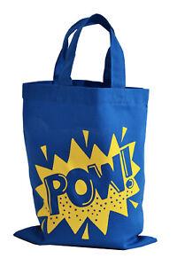 SINGLE-PARTY-GIFT-BAG-Small-039-POW-039-100-cotton-Blue