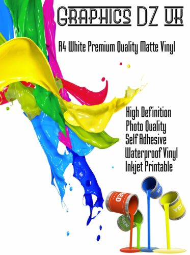 A4 Vinyl White Matt Waterproof Self Adhesive Inkjet Printable Sticker HQ