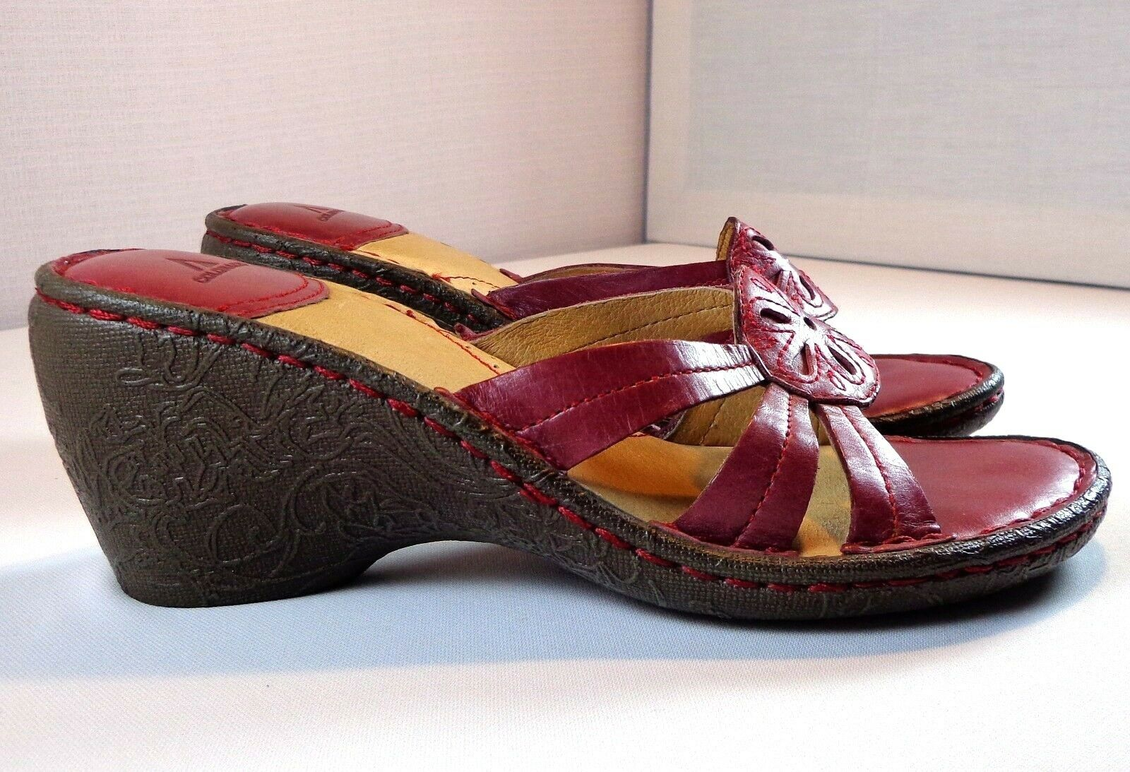 colorado Wedge Sandals Womens Red Leather Size 7 Slip On shoes