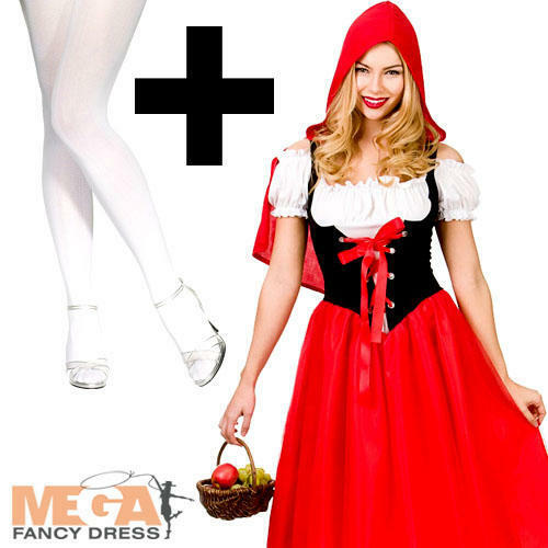 Red Riding Hood Tights Ladies Fancy Dress World Book Day Womens Adults Costume
