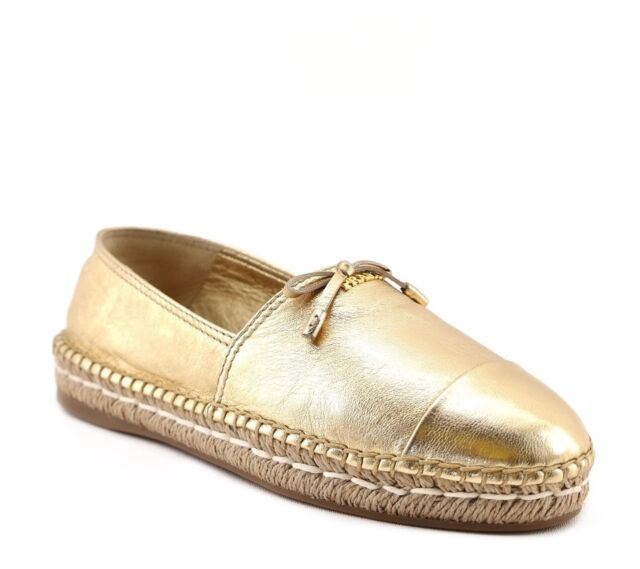 PRADA Women s Espadrilles Slip on Shoes Nappa Silk Gold 12c UK 4 (eu ... b5cb84fdf4